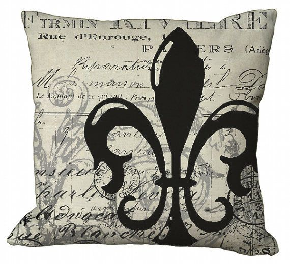 Postcard Ephemera Fleur De Lis In Choice Of 14x14 16x16 18x18 20x20 22x22 Inch Pillow Cover 2018 Pinterest Pillows And