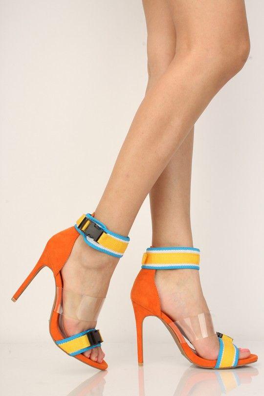 75d8a2d741d Orange Clear Buckle Detail Single Sole High Heels in 2019