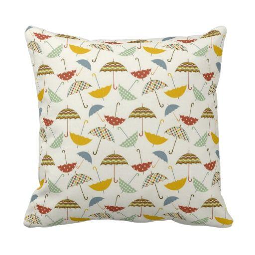 Cute Throw Pillows Pinterest : Cute Whimsical Rainy Day Umbrella Pattern Throw Pillow Accent Cushion Designer Throw Pillows ...