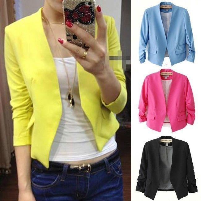 Para Mujer Chaquetas Cortas Ropa de Abrigo Traje Solid Blazer Jacket Suit  Capa  623e93749ee3