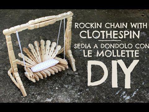 tutorial para hacer una mecedora con pinzas de madera / make a rocking chair with wooden pegs - YouTube