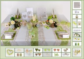 Tischdeko Hochzeit 5 in Zartgrün als Mustertisch - Tafeldeko.de