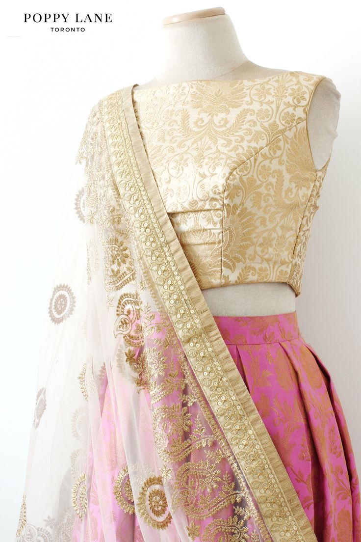 Royal Brocade Ivory Blouse with Soft Brocade Pink Skirts.  | Shop now at poppylane.ca