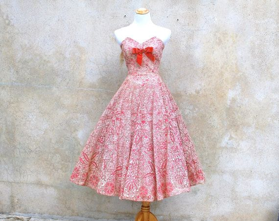 1950s strapless lace party dress  50s pink / by circa1955vintage