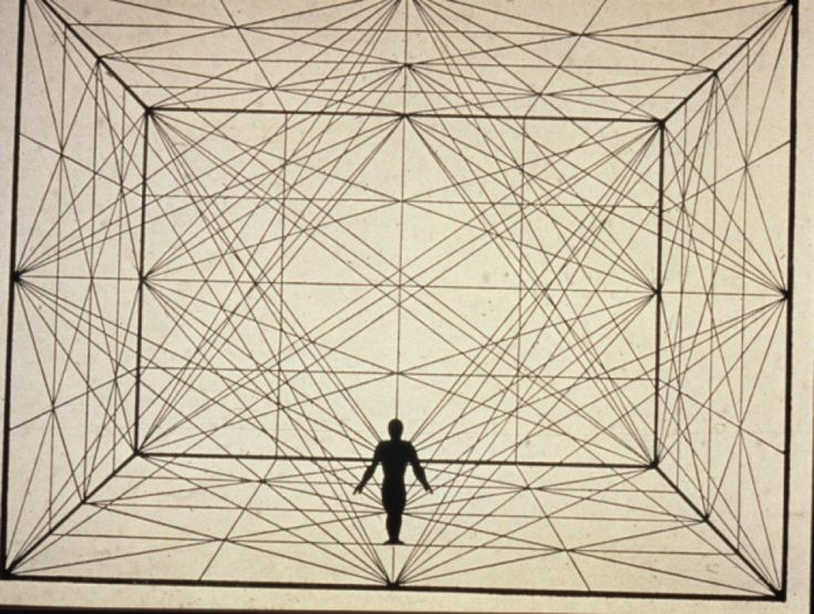 "ca. 1921--German--Oskar Schlemmer--figure in space with plane geometry and spacial delineations--Schlemmer was big into movement and space--this is from his essay ""Man and Art Figure."""