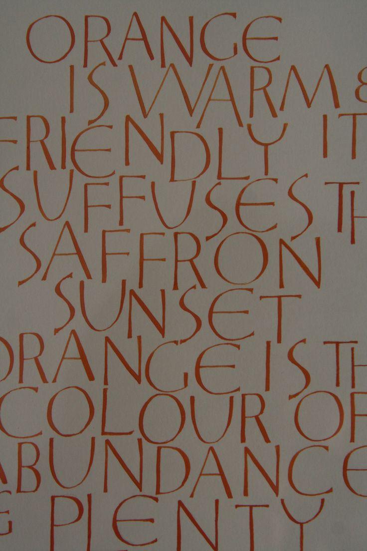 Orange - quote from Derek Jarman. Gouache Modern Versals Orange - quote from Derek Jarman. Gouache Modern Versals