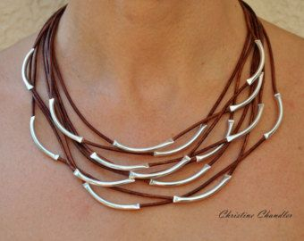 Pearl and Leather Necklace Sterling Silver by ChristineChandler