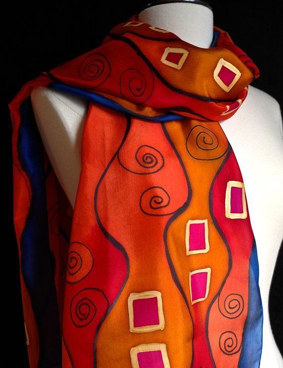 Stunning hand painted Art Nouveau style silk by FantasticPheasant