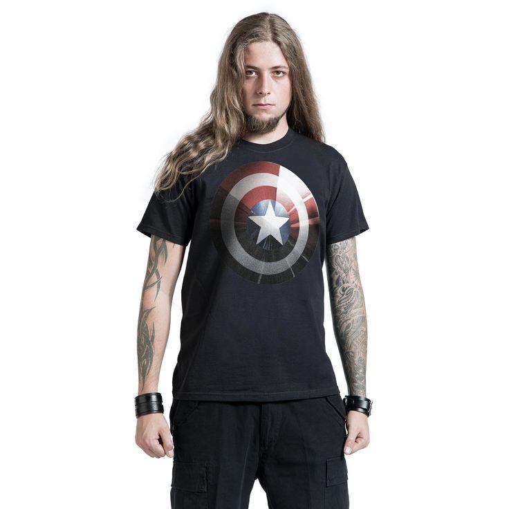 """Classica T-Shirt uomo nera """"Silver Shield"""" di #CaptainAmerica con ampia stampa sul davanti dello scudo in versione argentata del famoso supereroe."""