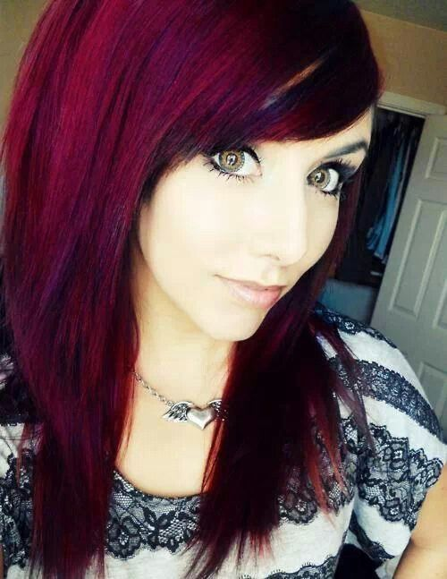 Crimson hair color.... Idk if I'm bold enough for it all over. Maybe just streaks with a dark brown/black streaks.