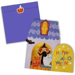 Halloween House Card Set,Craft Cards,Card,Halloween,ghost,pumpkin,Pumpkin ,Mechanism,bat,witch,black cat,house,Ghost