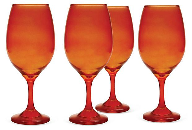 S/4 Moonlight Wineglasses, Orange on OneKingsLane.com