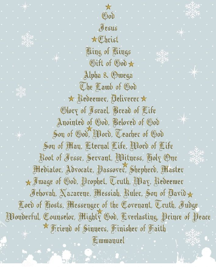 Jesus And Christmas Trees Part - 30: Names Of Jesus