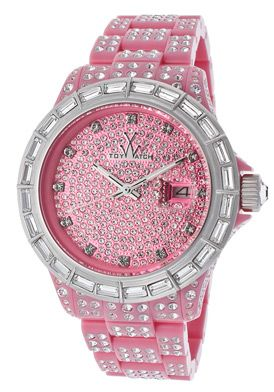 ToyWatch Women's White Crystal Pave Pink Dial Pink Resin With White Crystal. $139.99