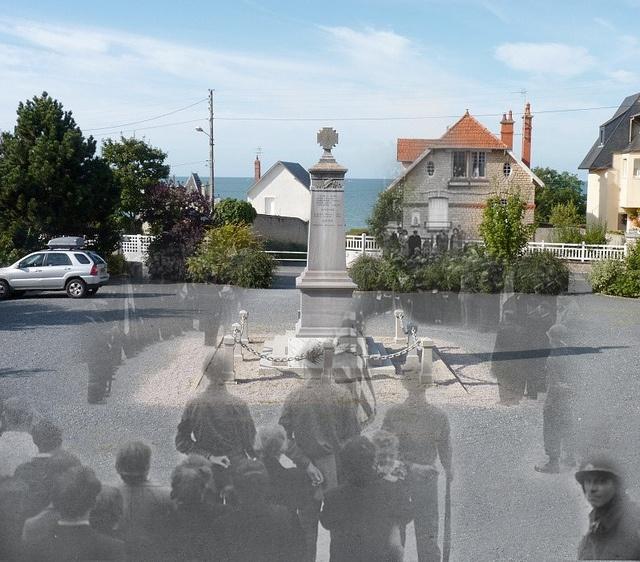Ladeado por unidades de uma força Aérea 9, os cidadãos de uma aldeia atrás das linhas de frente na Normandia comemorar seu tradicional Dia da Bastilha , pela primeira vez, em mais de quatro anos. Aqui eles honrar seus mortos de guerra de 1914-1918 e 1939-1944.