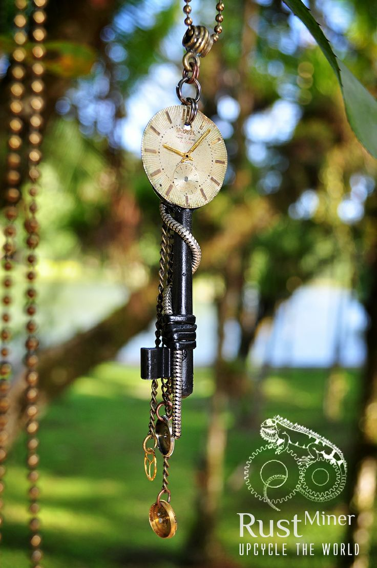 Key Time - Rust Miner Pendant #steampunk #necklace #pingente #colar #chave #key