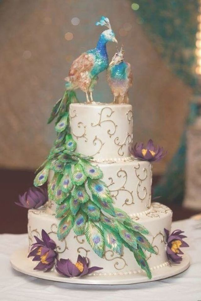 Pin By Kaycee Klein On Peacock Wedding Cakes Peacock Wedding Cake Peacock Cake Colorful Wedding Cakes