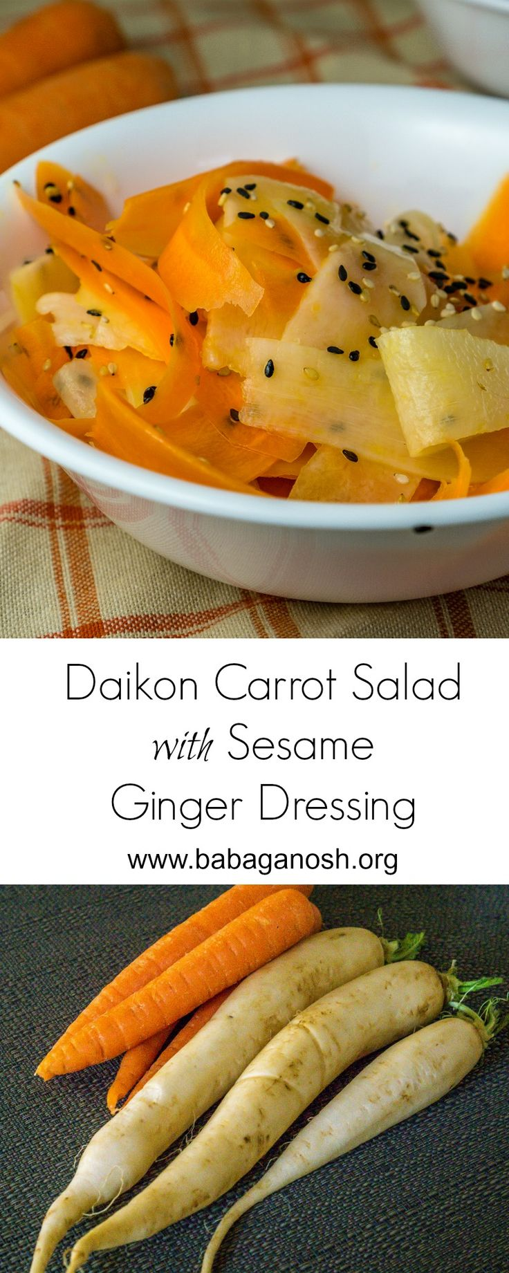 Daikon Carrot Salad with delicious Sesame Ginger Dressing. Daikon is a very mild tasting Chinese radish that can be eaten like a carrot - cooked or raw. Pair these two with delicious Asian dressing - yumm!!