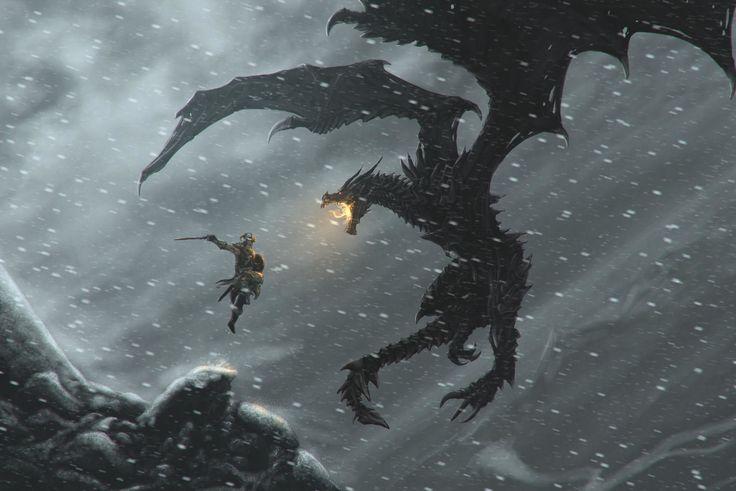 Vídeo Game The Elder Scrolls V: Skyrim  Dovahkiin Alduin The World-Eater Skyrim Papel de Parede