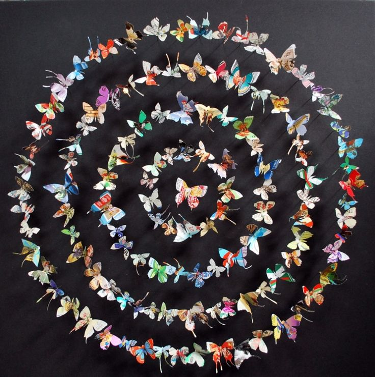 """Paper Butterfly Art by Rebecca J. Coles...beautiful...could also use paper butterflies to spell out """"spring"""" or some other simple, main focus word..."""
