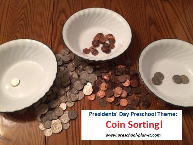 Presidents Day Preschool Theme LOTS of coin activities!  Over 20 activities and ideas for your preschool classroom!