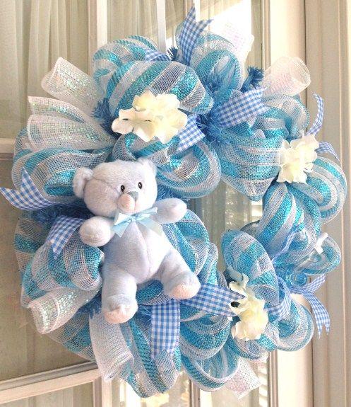 New Baby Boy Wreath | Sweet handmade baby boy deco mesh wreath by Southern Charm Wreaths.