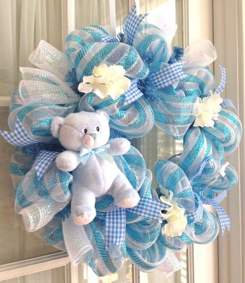 New Baby Boy Wreath | Sweet handmade baby boy deco mesh wreath by Southern Charm Wreaths.