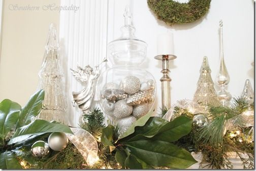 Mercury glass + greenery Christmas mantel decorations