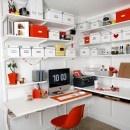 Creative White Storage Racks for Workspace with Mac