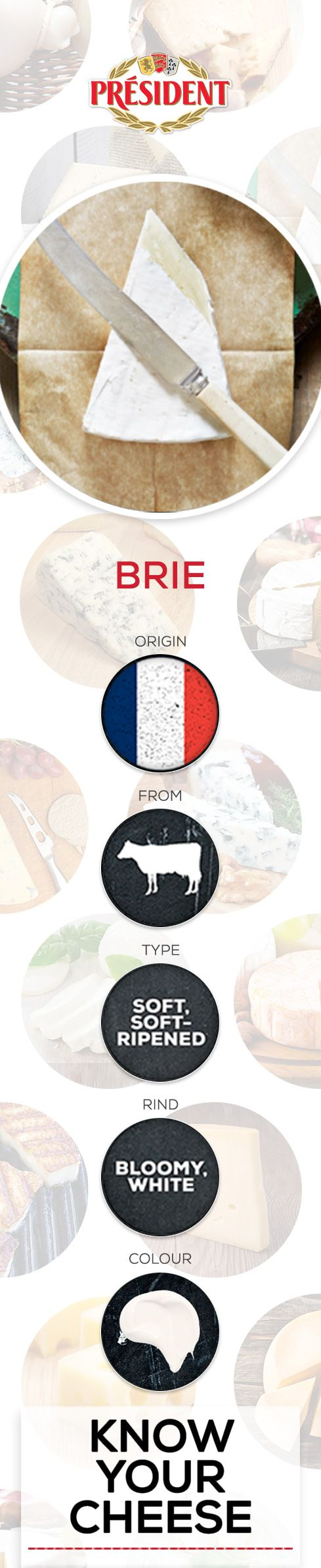 BRIE: One of the world's great dessert cheeses with a characteristic 'runny' texture and earthy flavour.  #cheese #knowyourcheese #presidentcheese #l'academie