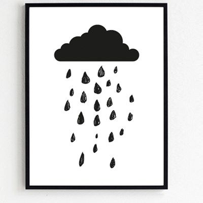 Plakat med sky og dråber fra Froh und frau. Froh und frau Skomagerdrenge plakat - Froh und Frau onlineshop