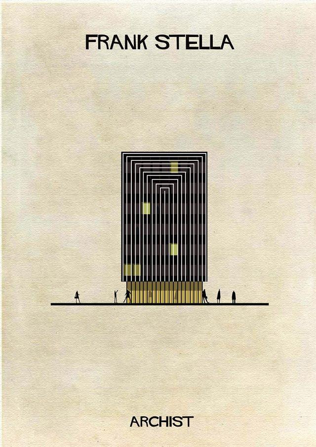 Ilustração de edifício ao estilo minimalista de Frank Stella