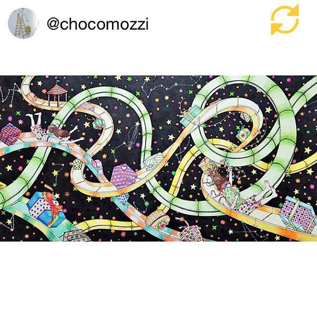 Instagram media daria486 - Beautiful work done by @chocomozzi of 'Spread the Joy' from my new coloringbook #ThePresent  can't wait to see more  Thank you #슬라이드 #미끄럼틀 #선물 #컬러링북 #선물 #크리스마스 #위시리스트 #안티스트레스 #시간의정원 #시간의방 #Colouringbook #coloringforadults #Coloringbook  #colouringin #coloriage #fairytale #art #slide  #illustration  #present #gift #Christmas #wishlist #DariaSong #TheTimeGarden #thetimechamber