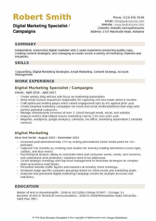 Digital Marketing Resume Sample Marketing Resume Digital Marketing Resume Examples