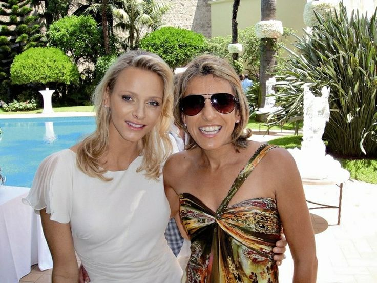 Elana Meyer in Hendrik Vermeulen with HSH Princess Charlène of Monaco at a private gathering at the Palace.