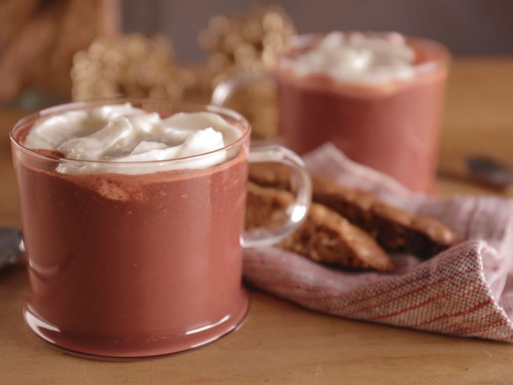Red Velvet Hot Chocolate with Marshmallow Whipped Cream recipe from Bobby Flay via Food Network