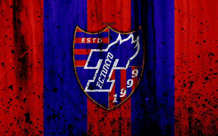 Download wallpapers FC Tokyo, 4k, logo, J-League, stone texture, Japan, Tokyo, soccer, football club, Tokyo FC