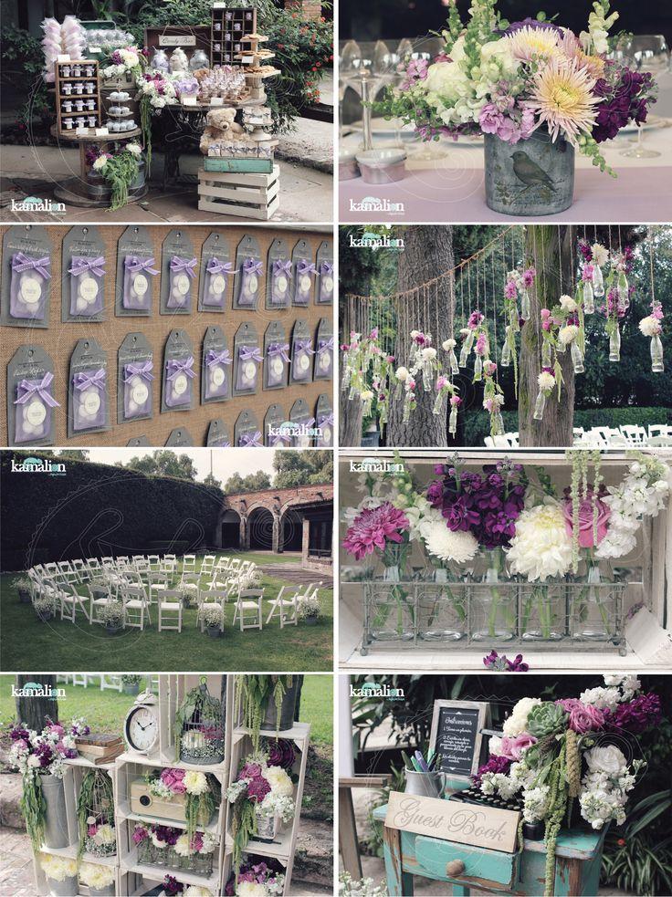 www.kamalion.com.mx - Boda / Wedding / Country / Rustic / Lila & Gris / Lila & Gray / Decoración / Decor / Candy Bar / Centros de Mesa / Centerpiece / Placing Cards / Busca tu Mesa / Guestbook / Ceremonia.