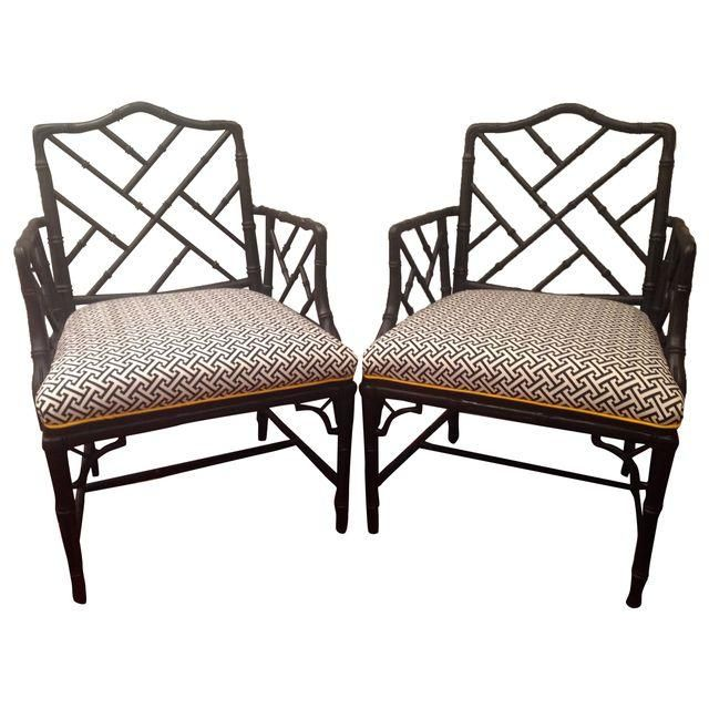 O - 4 Image of Black Chinese Chippendale Chairs - A Pair