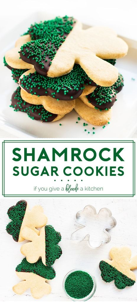 shamrock st patrick's day sugar cookies recipe on pinterest. Chocolate dipped with green sprinkles.