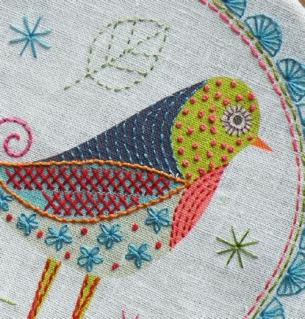 $16.50 Nancy Nicholson Embroidery Birdie Stitch 1 Kit:  In this pack there is a linen/cotton mix fabric panel with a printed design, showing clearly where to sew the decorative stitches. There is also a guide printed onto fabric to show the embroidery stitches required. The kit is easy to make and comes complete with embroidery threads in five colors to finish the project.  Finished embroidery is approx 25 x 25 cms.