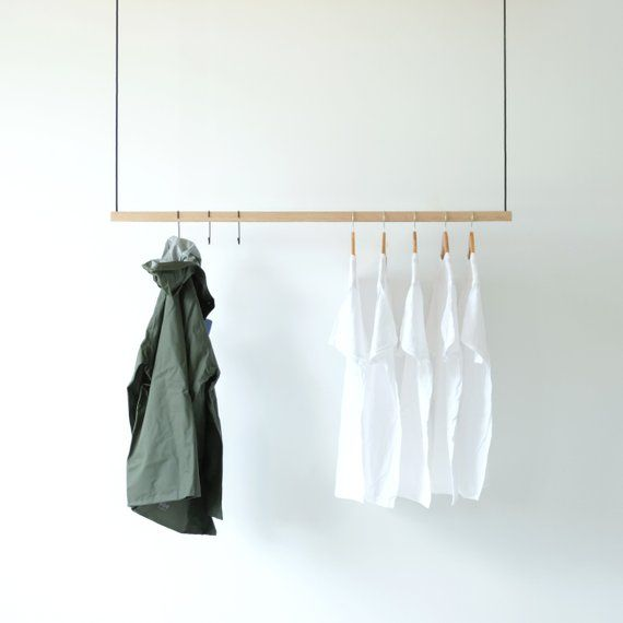 Hanging Clothes Rack Ceiling Mounted Hanging Clothes Rack Etsy Hanging Clothes Modern Clothing Rack Clothing Rack