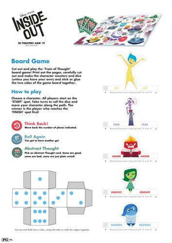 Inside Out Printable Board Game (4 pages)