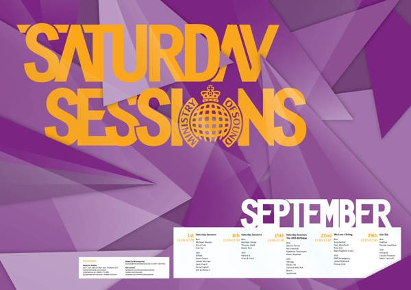 Ministry of Sounds — Saturday Sessions Posters by Jessica Moore, via Behance