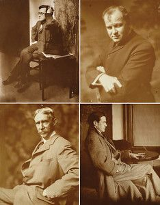 """The Eight, photographed by Gertrude Kasebier. From top left, John Sloan, George Luks, Maurice Prendergast and Everett Shinn. Courtesy of Delaware Art Museum, gift of Helen Farr Sloan. Featured in March 2013 article, """"Gertrude Kasebier: Two Exhibitions In Delaware."""""""