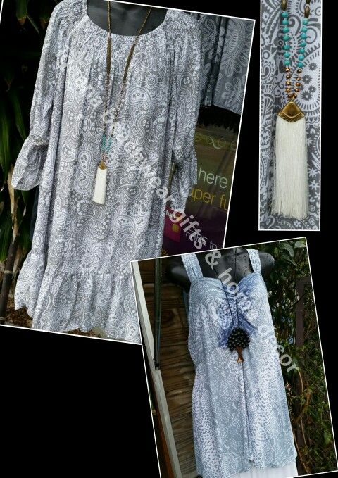 Ruffle top/dress $44....gorgeous bead and tassle long neckace $18 @ #iguana_beachwear