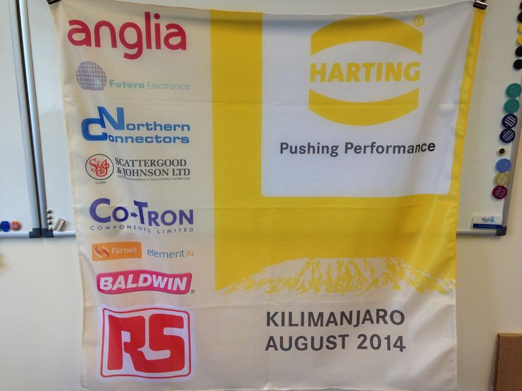 Promotional flag for HARTING UK Director's trip to Kilimanjaro