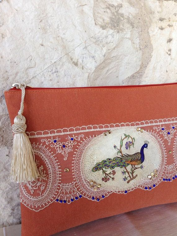 Unique peacock handpainted leather lace and beads by ebroosbags