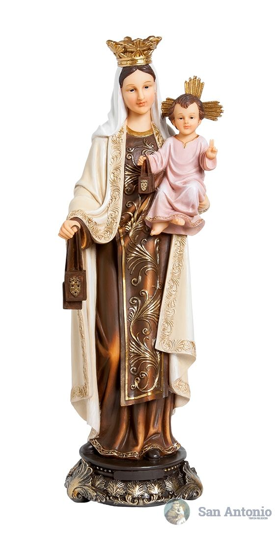 Virgen Del Carmen: Santa María del Monte Carmelo, referida comúnmente como Virgen del Carmen o Nuestra Señora del Carmen, es una de las diversas advocaciones de la Virgen María. Su denominación procede del llamado Monte Carmelo, en Israel, un nombre que deriva de la palabra Karmel o Al-Karem y que se podría traducir como 'jardín'.