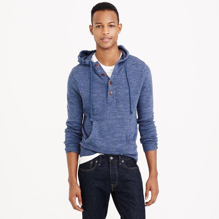 Cotton henley hoodie : cotton   J.Crew